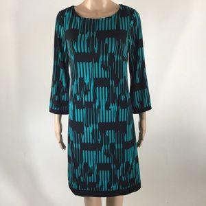 Calvin Klein Size 6 Teal/Black Dress